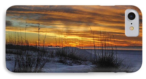Orange Clouded Sunrise Over The Pier Phone Case by Michael Thomas