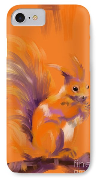Orange Forest Squirrel IPhone Case by Go Van Kampen