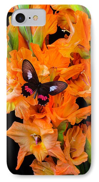 Orange Glad With Butterfly IPhone Case