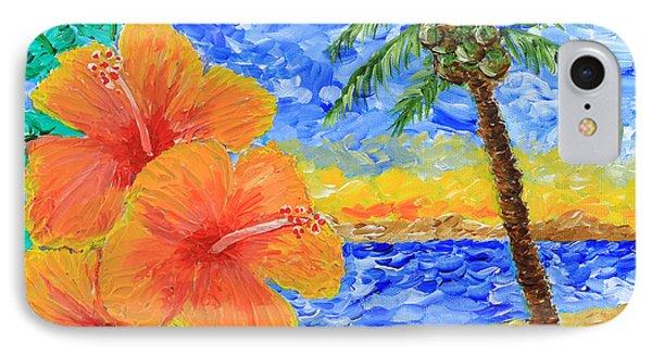 Orange Hibiscus Coconut Tree Sunrise Tropical Beach Painting IPhone Case