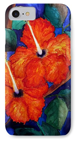 IPhone Case featuring the painting Orange Hibiscus by Lil Taylor