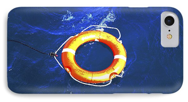 Orange Life Buoy In Blue Water Phone Case by Jacki Costi