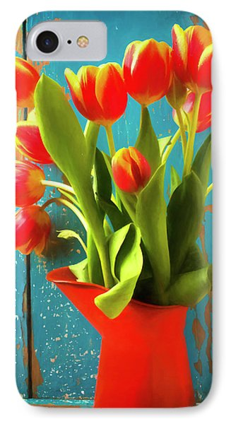 Orange Pitcher With Tulips IPhone Case