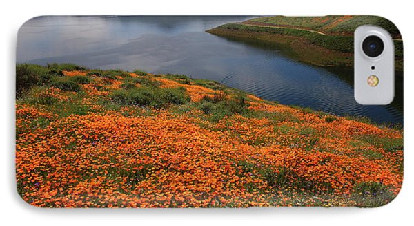 IPhone Case featuring the photograph Orange Poppy Fields At Diamond Lake In California by Jetson Nguyen