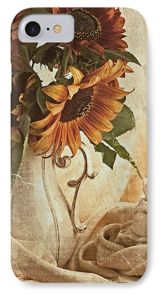 Orange Sunflowers - Found In The Attic IPhone Case by Sandra Foster