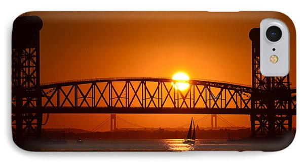 Orange Sunset Brooklyn Bridges Sailboat IPhone Case by Maureen E Ritter