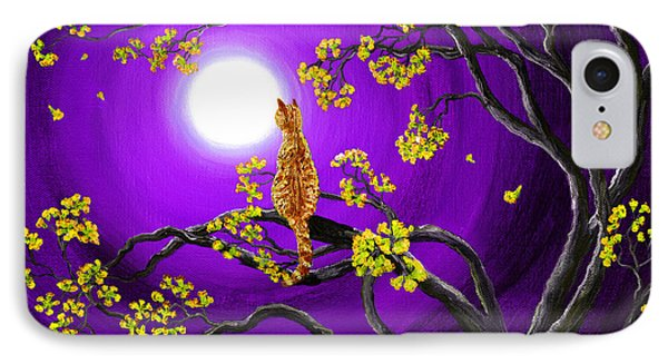 Orange Tabby Cat In Golden Flowers IPhone Case by Laura Iverson