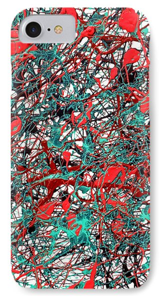 IPhone Case featuring the painting Orange Turquoise Drip Abstract by Genevieve Esson