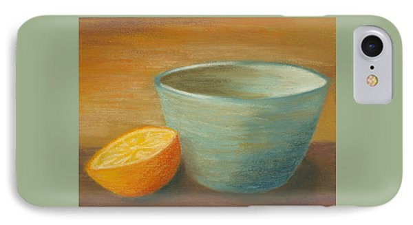 Orange With Blue Ramekin IPhone Case by Cheryl Albert