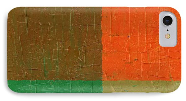 Orange With Brown And Teal IPhone Case by Michelle Calkins