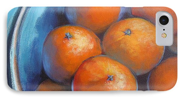 IPhone Case featuring the painting Oranges On Blue Acrylic Original Painting by Chris Hobel