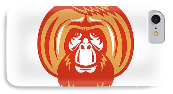 Orangutan Bearded Front Retro IPhone Case