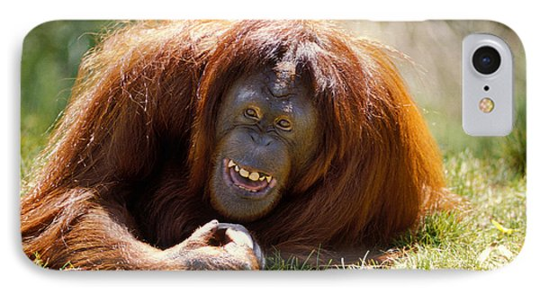 Orangutan In The Grass IPhone 7 Case by Garry Gay