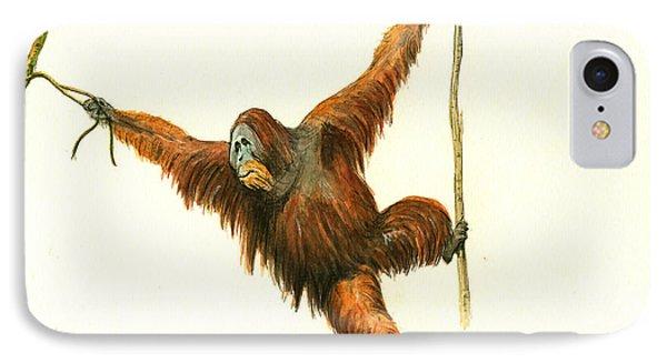 Orangutan IPhone 7 Case by Juan Bosco