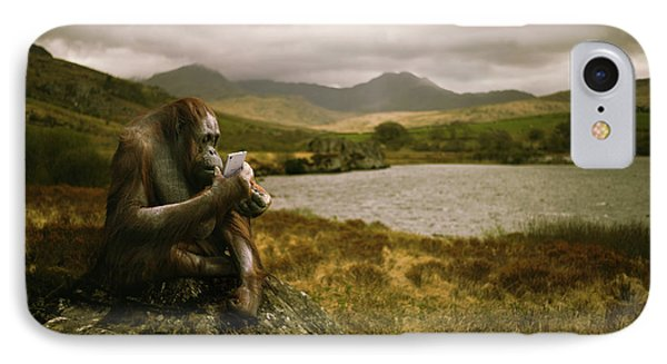 Orangutan With Smart Phone IPhone 7 Case by Amanda Elwell