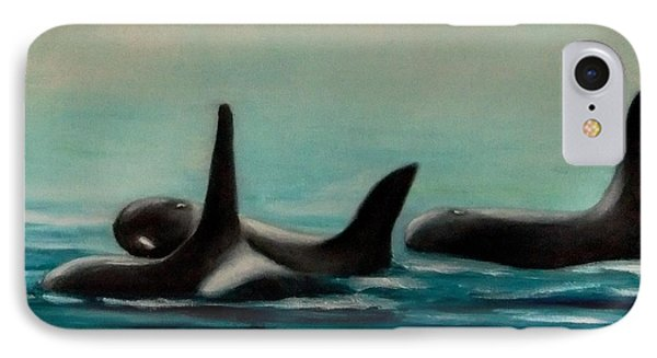 IPhone Case featuring the painting Orca's by Annemeet Hasidi- van der Leij