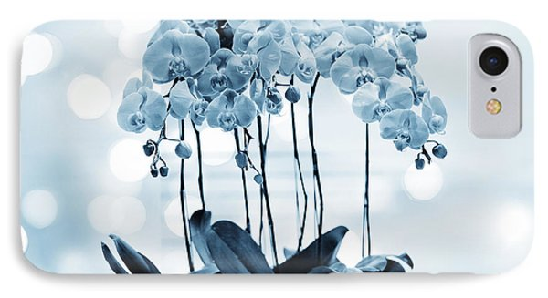 Orchid Flowers Blue Tone IPhone Case by Charline Xia