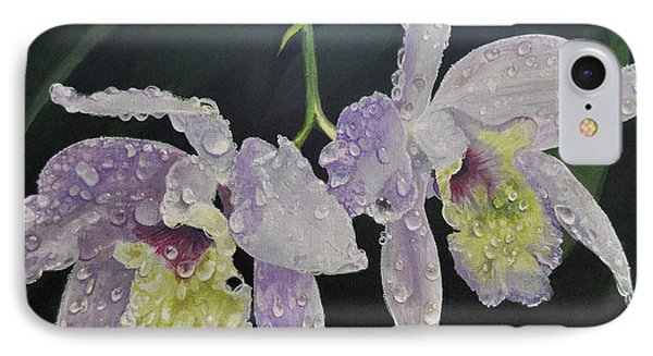 IPhone Case featuring the painting Orchid Jewels by AnnaJo Vahle