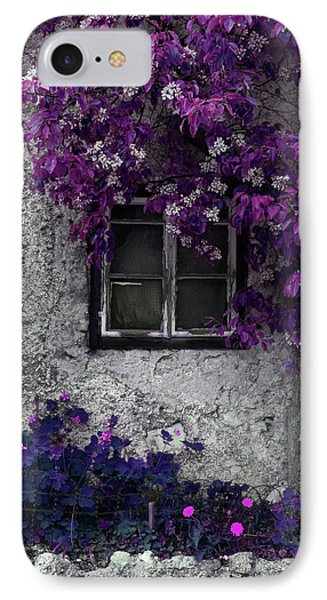 Orchid Vines Window And Gray Stone IPhone Case by Brooke T Ryan
