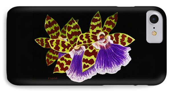 IPhone Case featuring the painting Orchids - Jumping Jacks With Black Background by Kerri Ligatich