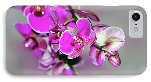 IPhone Case featuring the photograph Orchids On Gray by Ann Bridges