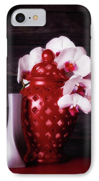 Orchid iPhone 7 Case - Orchids With Red And Gray by Tom Mc Nemar