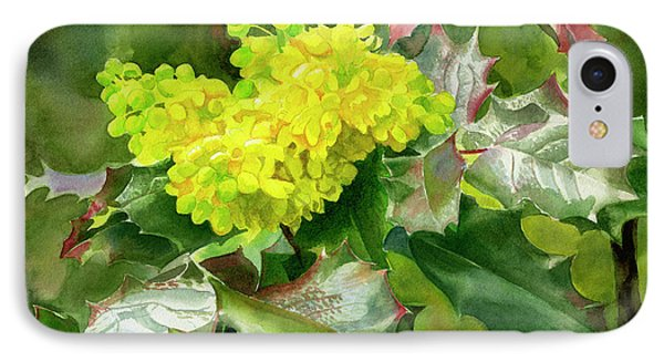 Oregon Grape Blossoms With Leaves IPhone Case by Sharon Freeman