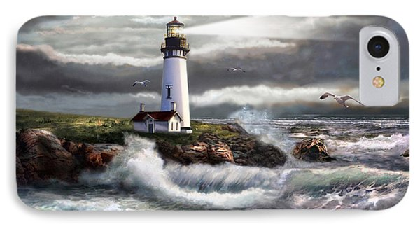 Oregon Lighthouse Beam Of Hope IPhone Case by Regina Femrite