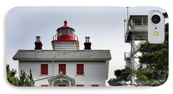 Oregon's Seacoast Lighthouses - Yaquina Bay Lighthouse - Old And New Phone Case by Christine Till