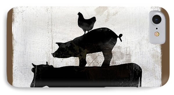 Organic Farm Raised Meat, Weathered Working Farm Sign Kitchen Art IPhone Case by Tina Lavoie