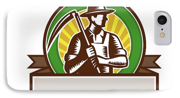 Organic Farmer Holding Scythe Circle Woodcut IPhone Case