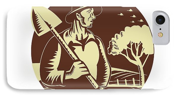 Organic Farmer Holding Shovel Farm Circle Woodcut IPhone Case by Aloysius Patrimonio