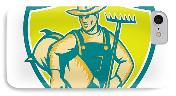 Organic Farmer Rake Sack Shield Woodcut IPhone Case