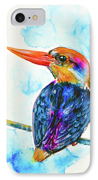 IPhone Case featuring the painting Oriental Dwarf Kingfisher by Zaira Dzhaubaeva