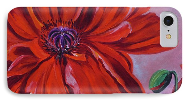 Oriental Poppy With Bud IPhone Case