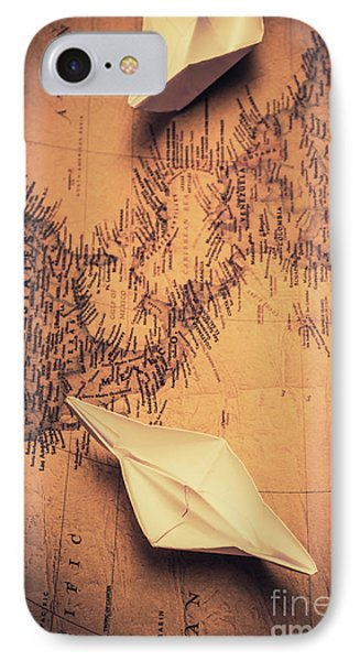 Origami Boats On World Map IPhone Case by Jorgo Photography - Wall Art Gallery