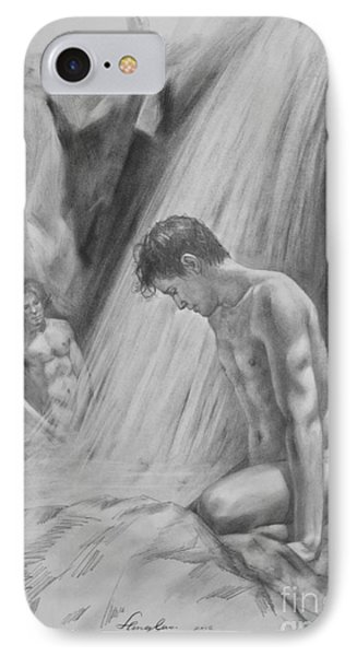 Original Charcoal Drawing Art Male Nude By Twaterfall On Paper #16-3-11-16 IPhone Case by Hongtao Huang