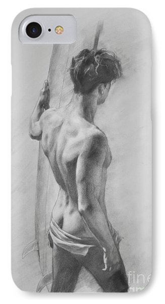 Original Charcoal Drawing Art Male Nude  On Paper #16-3-11-12 IPhone Case by Hongtao Huang