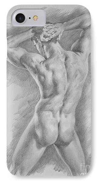 Original Charcoal Drawing Art Male Nude  On Paper #16-3-11-25 IPhone Case by Hongtao Huang