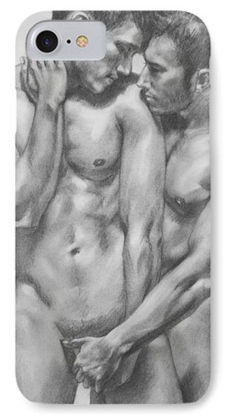 Original Charcoal Drawing Male Nude Gay Interest Man On Paper #6-30-5 IPhone Case by Hongtao     Huang