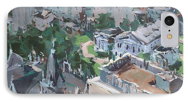 IPhone Case featuring the painting Original Contemporary Cityscape Painting Featuring Virginia State Capitol Building by Robert Joyner