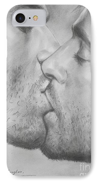 Original Drawing Sketch Charcoal Chalk Gay Man Art - Kiss Pencil On Paper -025 IPhone Case by Hongtao     Huang
