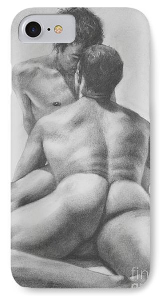 Original Drawing Sketch Charcoal Male Nude Gay Interest Man Art  Pencil On Paper -0028 IPhone Case by Hongtao     Huang