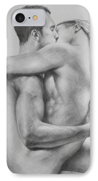 Original Drawing Sketch Charcoal   Male Nude Gay Interest Man Art Pencil On Paper -0034 IPhone Case by Hongtao     Huang