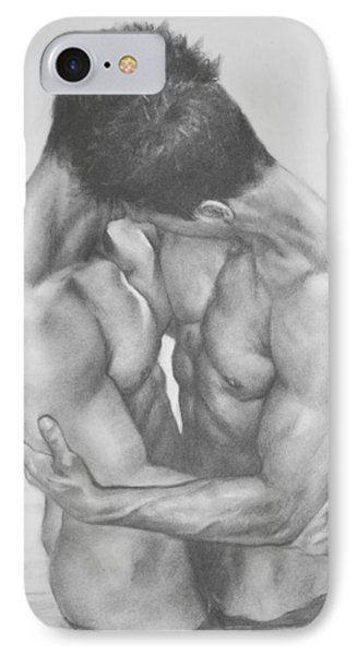 Original Drawing Sketch Charcoal  Male Nude Gay Interest Man Art Pencil On Paper -0041 IPhone Case by Hongtao     Huang
