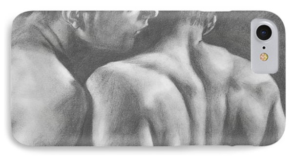 Original Drawing Sketch Charcoal Man Body  Male Nude Gay Interest Man Art Pencil On Paper -0029 IPhone Case by Hongtao     Huang