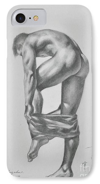 Original Drawing Sketch Charcoal Pencil Gay Interest Man Art  On Paper #11-17-14 IPhone Case by Hongtao     Huang