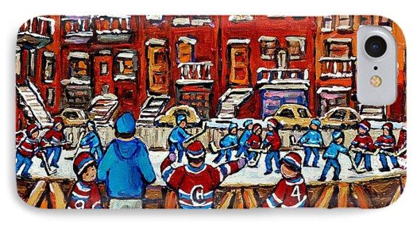 Original Hockey Art Paintings For Sale The Neighborhood Hockey Rink Canadian Winter Scenes IPhone Case by Carole Spandau