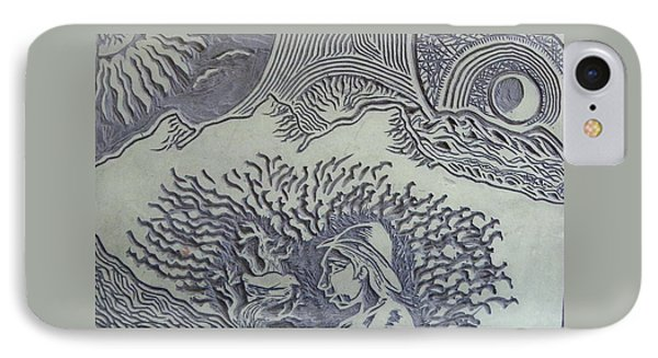 Original Linoleum Block Print Phone Case by Thor Senior