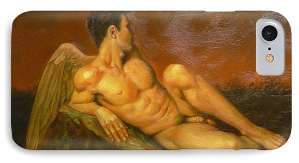 Original Oil Painting Art  Male Nude Of Angel Man On Canvas #11-16-01 IPhone Case by Hongtao Huang